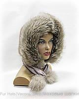 Платок меховой - шарф из чернобурки и норки (серебристо-голубой)