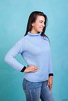 Голубой женский свитер из крупной вязки