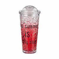 Охлаждающая бутылка-стакан Ice Cup.Красный 550 мл.