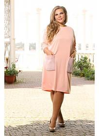 Женское платье на осень Мех размер 48-72 / большие размеры