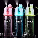 Спортивная бутылка со спреем New B. 600мл розовый, фото 5
