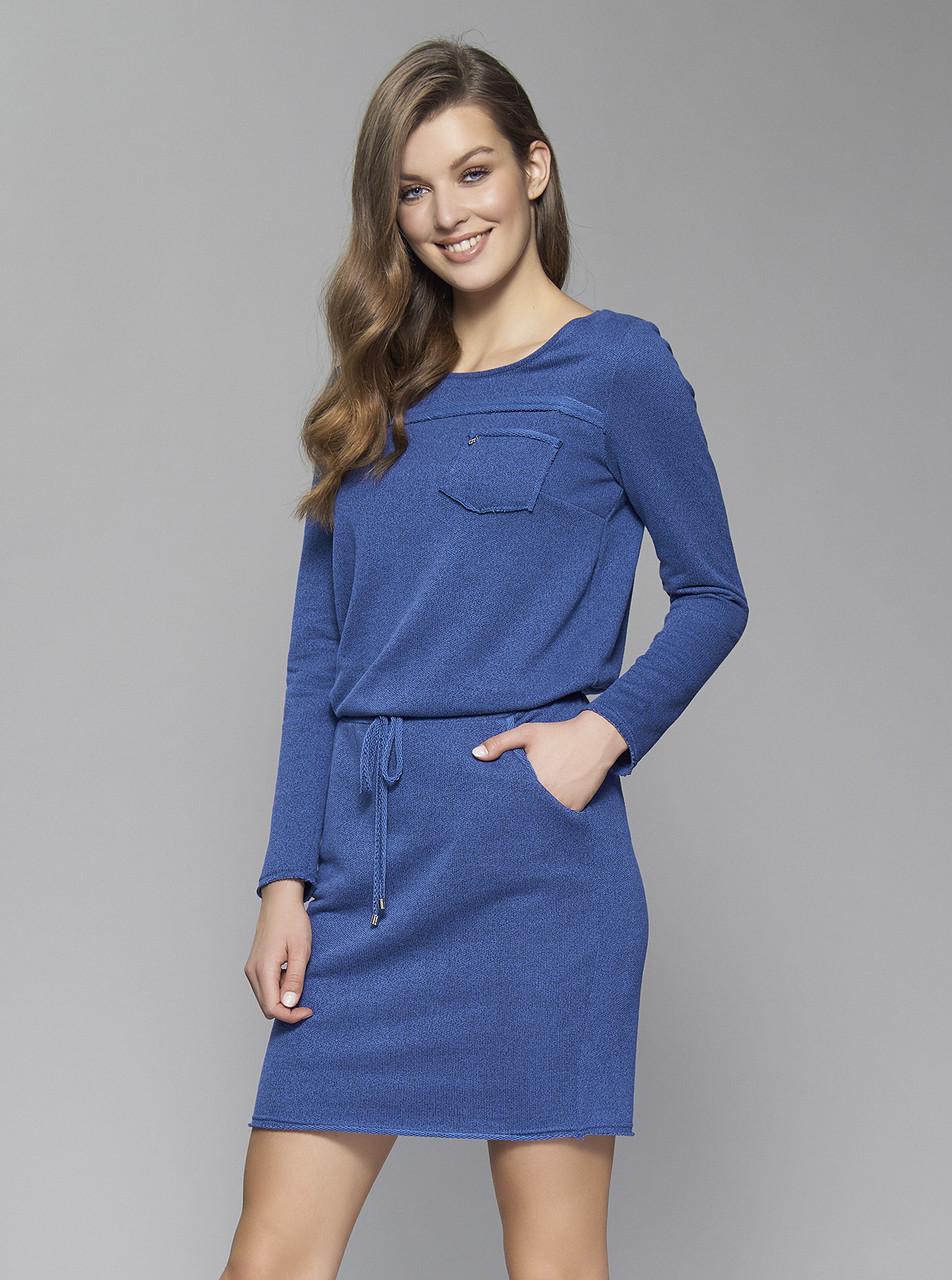 68531cc4b619 Женское осеннее платье Lavenda Zaps синего цвета, коллекция осень-зима  2017-2018.