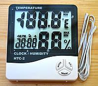 Цифровой гигрометр HTC-2 термометр, часы, будильник
