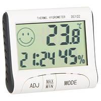 Цыфровой гигрометр DC102 термометр,часы,будильник