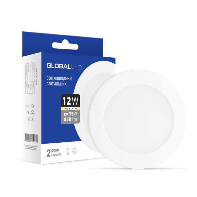 LED светильник GLOBAL SPN 12W теплый свет (1-SPN-007)