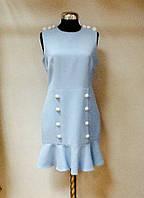 Платье голубое с оборкой