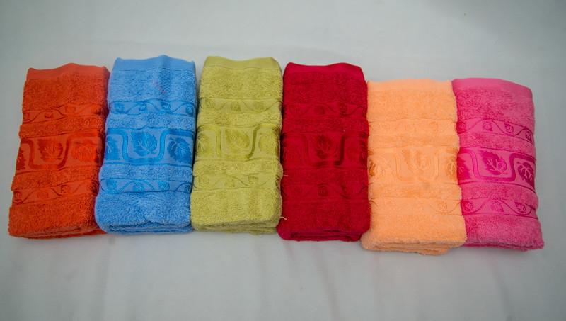 Банное махровое полотенце Листья Турция Размер 140х70 6 шт в уп. 100% хлопок