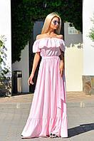Роскошное платье из шифон-шёлка с поясом и рюшами.