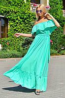 Роскошное бирюзовое платье из шифон-шёлка с поясом и рюшами.