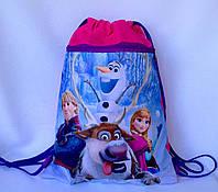 """Рюкзак мешок для сменной обуви """"Холодное сердце"""" с дополнительным карманом на молнии малинового цвета"""