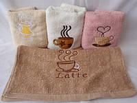 Кухонное полотенце Кофе махровое с вышивкой 12 шт в уп. Размер 30х55 100% хлопок