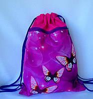 """Рюкзак мешок для сменной обуви """"Бабочки"""" с дополнительным карманом на молнии малинового цвета"""