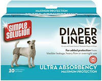 SIMPLE SOLUTION Disposable Diaper Liners -Heavy Flow / Влагопоглощающие гигиенические прокладки для собак 10шт