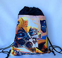 """Рюкзак мешок для сменной обуви """"Трансформеры"""" с дополнительным карманом на молнии"""