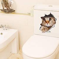 Наклейка стикер WC кот на унитаз,дверь 29см*21см