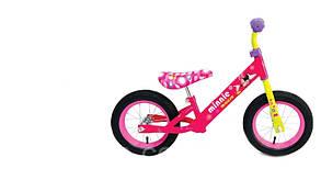 "Велобег стальная рама, катафоты, колёса 12"", розовый"