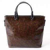Женская деловая сумка из кожзама коричневого цвета М61-56/27