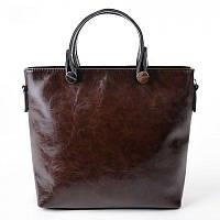 Женская классическая сумка из кожзама коричневого цвета М61-55/Z