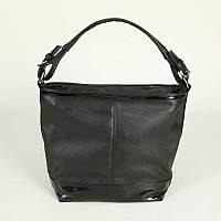 Женская сумка-мешок хобо черная из кожзама стильная  М57-47/лак