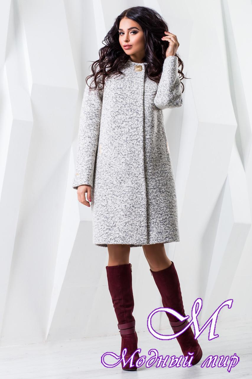 Женское белое осеннее пальто с капюшоном (р. 44-62) арт. 981 Тон 15