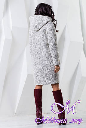 Женское белое осеннее пальто с капюшоном (р. 44-62) арт. 981 Тон 15, фото 2