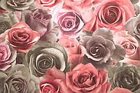 Обои, розы, крупные цветы, обои 3D на стену, винил на флизелине, горячего тиснения, 714-45, 1,06х10м