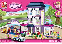 Конструктор Sluban M38-B0579 серия Розовая мечта. Большой отель
