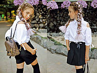 """Детская стильная блузка-рубашка 287 """"Коттон Плечи Рукава Завязки"""""""