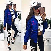 ХИТ!!! Женская куртка ветровка бомбер VOGUE 92 с капюшоном и карманами синяя электрик S M L XL