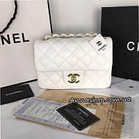 Клатч, сумка Шанель мини в белом цвете Люкс копия