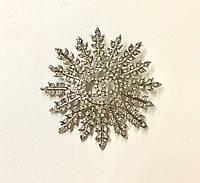 """Брошка Chanel """"Веточки с листьями"""" в белом металле"""