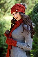 Женский комплект шапка шарф и перчатки Афродита в разных цветах