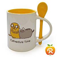 Желтая чашка с ложкой с вашим изображением