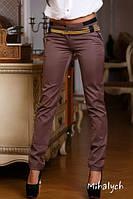 Шоколадные стильные женские стрейч брюки с пояском. Арт-1361/27