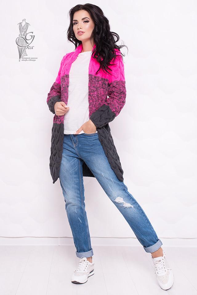 Цвет Розовый-Серый Вязаных женских кардиганов Маврика-4