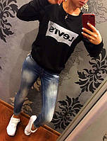 Женский свитер свитшот кофта LEVIS чёрный 42/44/46 больших размеров батал 48-50