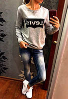 Женский свитер свитшот кофта LEVIS серый меланж 42/44/46 больших размеров батал 48-50