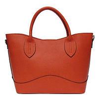 Женская  сумка из натуральной кожи фабричная (отшита  в Италии) кораллового цвета, на две ручки