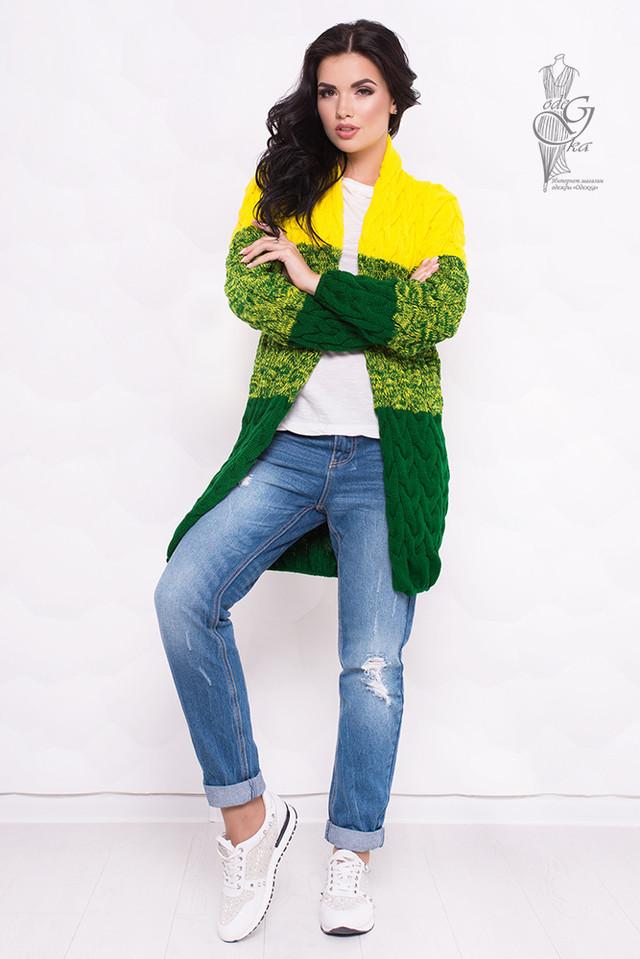 Желтый-Зеленый цвет Вязаных женских кардиганов Маврика-4