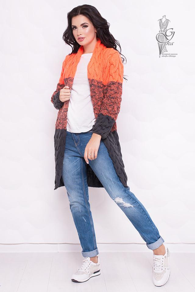 Оранжевый-Серый цвет Вязаных женских кардиганов Маврика-4