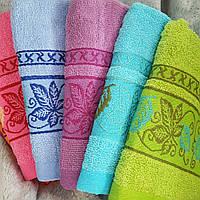 Полотенце с кленовыми листьями 6 шт в уп. Размер 1,4х70. Лицевое полотенце хлопок
