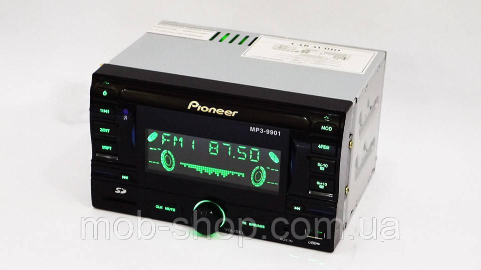 2 din Автомагнитола пионер Pioneer 9901 USB +SD+ AUX +RGB подсветка (2 дин магнитола с хорошим звуком)