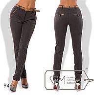 Стильные женские брюки тёмно-серого цвета с ремешком (2 цвета) VV/-045