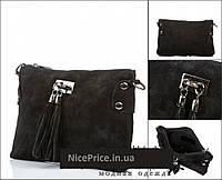 Итальянская  черная сумка -натуральная замша