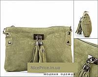 Итальянская оливковая сумка -натуральная замша