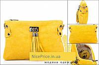 Итальянская желтая сумка -натуральная замша