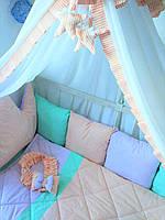 Постельный набор с бортиками в детскую кроватку
