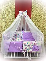Комплект белья в кроватку с совами, 8 в 1 Бонна