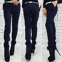 Темно синие стильные женские брюки классика в мелкую полосочку. Арт-1367/27