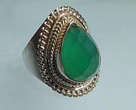 Кольцо с натуральным зеленым халцедоном.  Размер 18